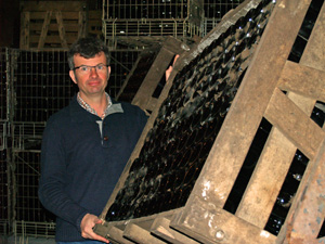 Turning the sparkling wine bottles in the cellar