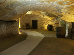 Visiting the wine cellar below the Chinon fortress
