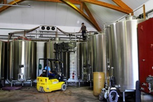 Putting the grapes into the fermentation tank using a forklift truck