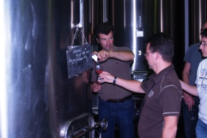 Tasting the Bernache, grape juice that is in the early stages of fermentation