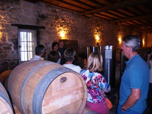Visit of the cellar to see where the wine ages in oka barrels