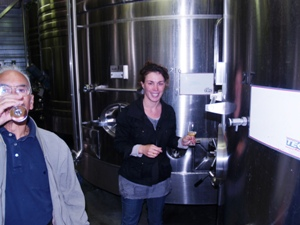 Tasting the freshly pressed grape juice and bourru direct from the fermentation tank