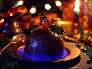 The stress of lighting the Christmas pudding