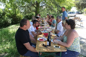 Winemaker meal at the Domaine la Cabotte Rhone Valley