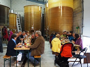 harvester meal and wine tasting for the harvest in a french vineyard