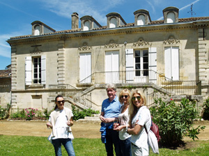 Tasting the estate's wines in front of the château