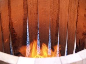 Heating the staves at the Nadalié cooperage