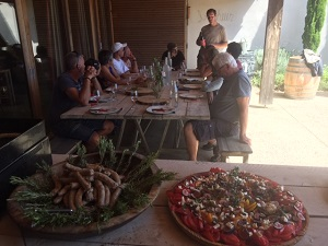 harvesters' lunch at domaine Allegria in Languedoc, France