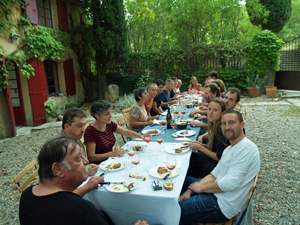 Harvesters' lunch in a French Orgnic winery