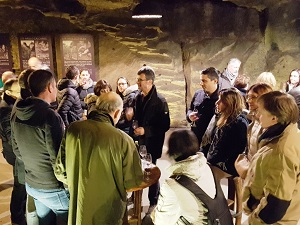 In the cellar beneath the Chinon fortress to taste the wines that are still ageing