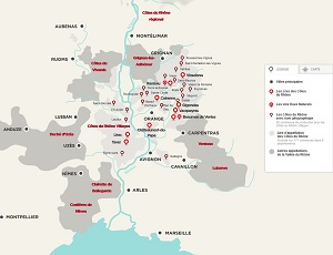 A map of the Rhone Valley wine appellations