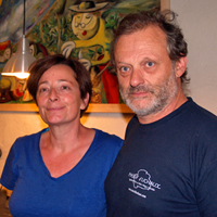 Vineyard Visit. Meet the winemakers, Isabelle and Arnaud Guichard at Domaine de la Guicharde, Rhone Valley, France